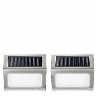 2Pcs warm white 3led solar lamp with smart lighting sensor rain-proof fence light az4611