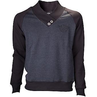 Jack Daniel'S - V-Neckine With Old No.7 Brand Logo Men's Small Sweater - Grey/Black