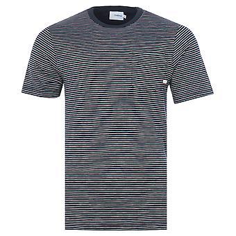 Farah Emmet Stripe Pocket Crew Neck T-Shirt - True Navy
