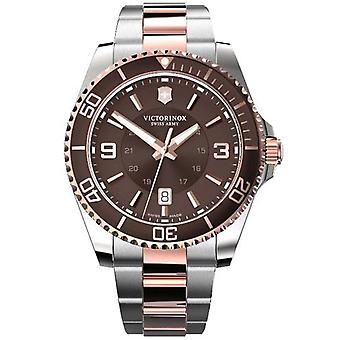 Victorinox Swiss Army 241951 Maverick Large Brown Two Tone Rose Gold And Silver Stainless Steel Watch
