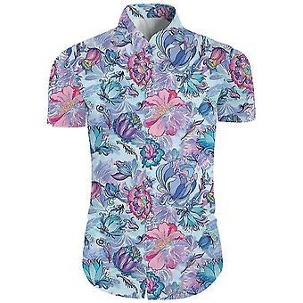 الرجال 2 قطعة 3d الأزهار طباعة زر عارضة أسفل قميص هاواي الأكمام القصيرة والسراويل تعيين في السماء