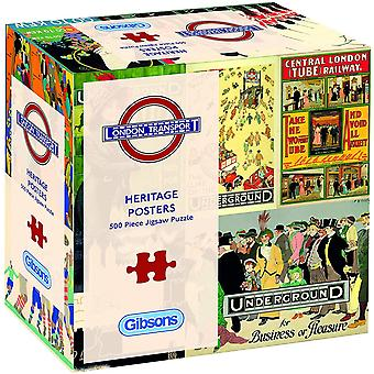Gibsons Transport for London Heritage Posters Jigsaw Puzzle in Gift Box (500 piezas)