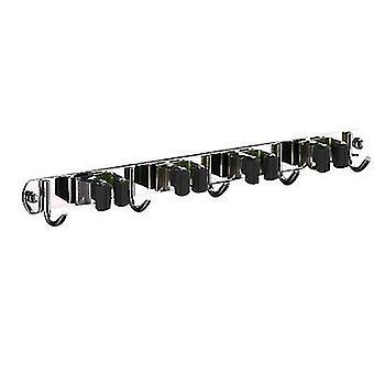 Stainless Steel Mop Hook Punch-free Multifunctional Wall-mounted Broom Holder(Black)