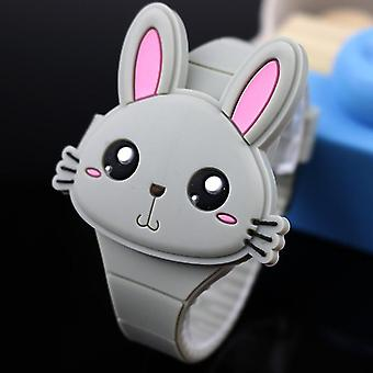 Lovely Rabbit Cartoon Flip Cover Rubber Electronic Watch(Gray)