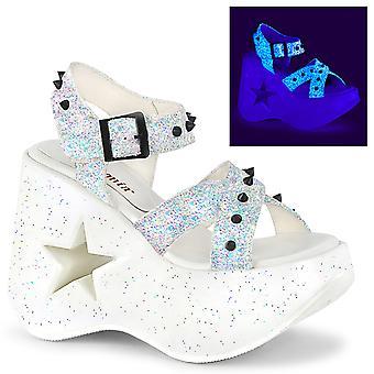 Zapatos Demonia Women's DYNAMITE-02 Wht Multi Glitter