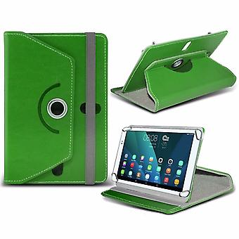 iTronixs - Alcatel Plus 10 (10.1 inch) Tablet Case PREMIUM PU 360 Rotating Leather Wallet Folio Faux 4 Springs Stand - Green