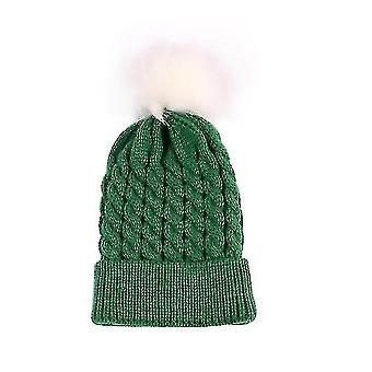Kids Baby Toddler Cable Knit Children's Pom Winter Hat Beanie(GREEN)