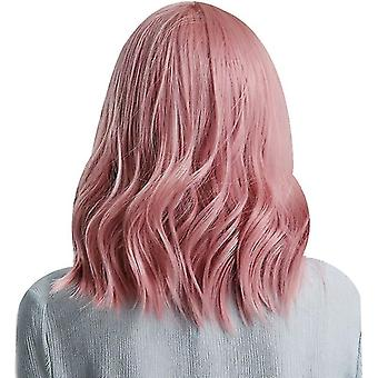 Womens Wig Pastel Pink Wigs Short Wavy Curly Shoulder Length Bob