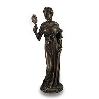 Cardinal Virtue Prudence Bronze Finished Statue Hand Painted Accents