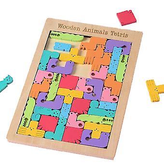 Tetris Quebra-cabeças coloridos de madeira para crianças cérebro teaser jogos educacionais para crianças animais