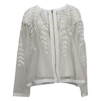 Colleen Lopez Women's Plus Faux Leather Leaf and Mesh Jacket White 739847