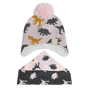 Silktaa Children's Printed Pompon Knitted Hat And Scarf Two-piece Set