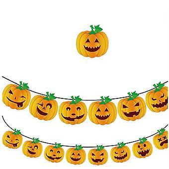 Horror Pumpkin Banner Decoración de Halloween Banner Accesorios Ghost Banner Corona de Halloween Party Suministros