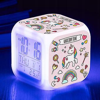 Kleiner Wecker Nachtlicht Einhorn Wecker Nachtlicht Led Quadratische Schreibtischuhr