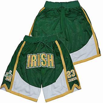 Men's Irish #23 James Basketball Shorts Green Casual Outdoor Sports Sandbeach Pants Size S-xxl