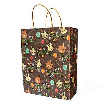 "12.5"" Large Birthday Gift Bag Kraft Paper Bag  5 Pack"