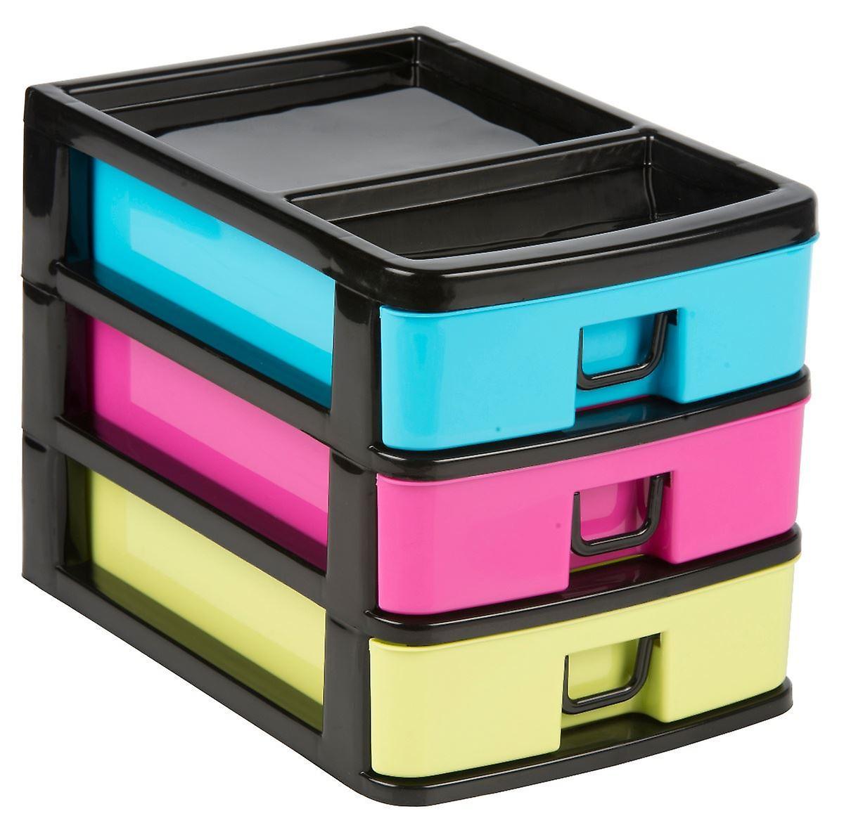 27x18.5x20cm Plastic 3 Drawers Storage Box Household Garage Organiser