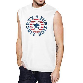 Liberty & Justitie wit katoen grafische Muscle Tanks cadeaus voor mannen