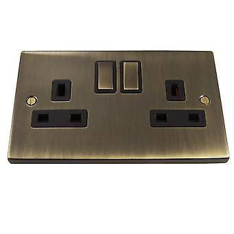 Causeway 2 Gang 13A DP Ingot Switched Socket, Antique Brass