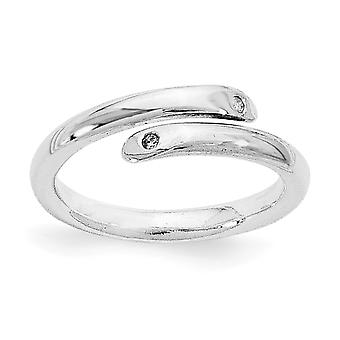 Polished Gift Boxed Rhodium plated White Ice .02ct. Diamond Ring Jewelry Gifts for Women - Ring Size: 6 to 8