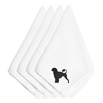 Cão de água português bordados guardanapos conjunto de 4