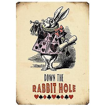Down The Rabbit Hole Metal Sign
