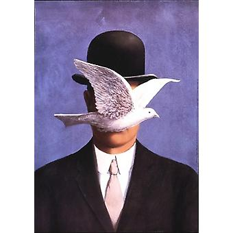 The Man with the Bowler Hat Poster Print by Rene Magritte (20 x 28)