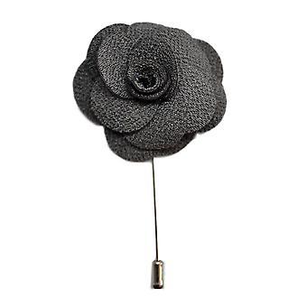 Donker zilver grijs handgemaakte bloem/Rose revers Pin voor het dragen met mannen pak jasje, blazer, diner jacket of Smoking jasje