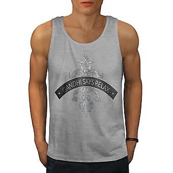 Relax Keep Calm Slogan Men GreyTank Top | Wellcoda