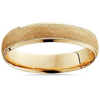 Herren 14K Gelb Gold gehämmert 5 mm Hochzeitsband