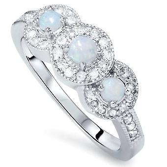 1 / 2ct Opal Diamant Halo 3-Stein-Ring 14K Weissgold