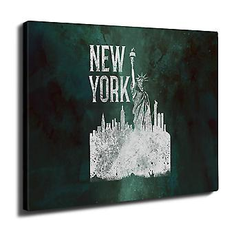 New York City Statue Wall Art Canvas 40cm x 30cm | Wellcoda