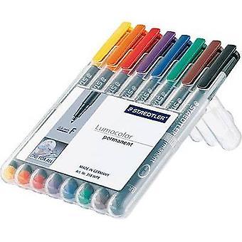 Staedtler OHP pen Lumocolor F permanent 318 318 WP8 Blauw, Bruin, Geel, Groen, Oranje, Rood, Zwart, Violet