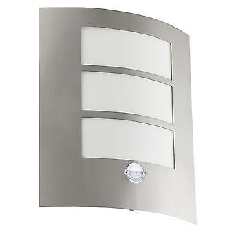 Eglo City PIR Outdoor IP44 Stainless Steel Wall Light