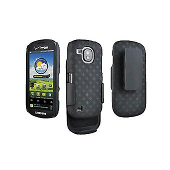 OEM Verizon Rubberized Hard Shell Case w/ Holster for Samsung Continuum SCH-i400 (Black) (Bulk Packaging)