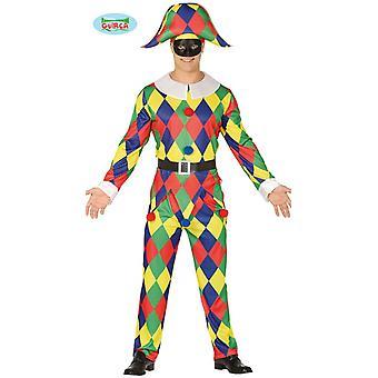 Costume de carnaval Arlequin Eulenspiegel jester costume masculin de tromper