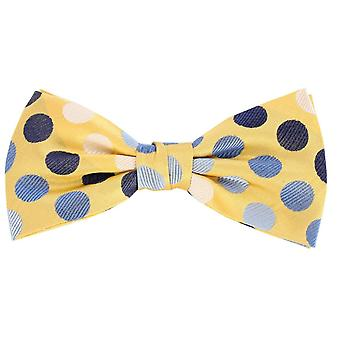 Knightsbridge Neckwear Multi Spot Silk Bow Tie - Yellow/Blue/White