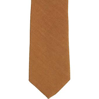 Knightsbridge Neckwear Plain Cotton Skinny Tie - Brown