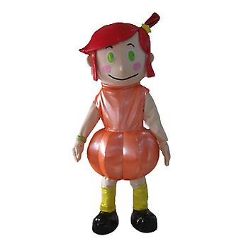 mascot SPOTSOUND girl with red hair, a dress orange