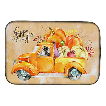 Carolines Treasures  CK2657DDM Fall Harvest Border Collie Dish Drying Mat