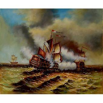 الحرب على البحر، اللوحة الزيتية على قماش، 50x60 سم