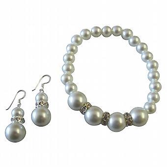 Alluring Gift White Pearl Stretchable Bracelet Earrings Set