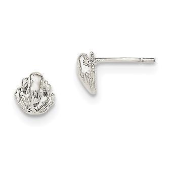 925 Sterling Silver Polished Post Earrings Frog Mini for boys or girls Earrings - 1.4 Grams