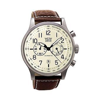Davis 42 mm men's Vintage Aviator-1023-Beige Dial-Chronograph brown leather strap 50 M Pool