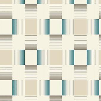 Tegel Wallpaper betegeling pleinen reliëf geweven Vinyl wasbaar crème Teal