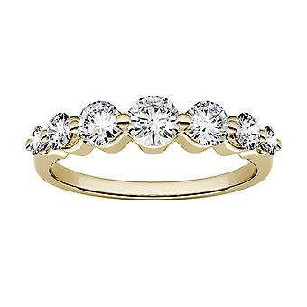 14K Yellow Gold Moissanite by Charles & Colvard 4mm Round Wedding Band, 0.87cttw DEW