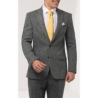 Scottish Harris Tweed Mens Grey Suit Jacket Regular Fit 100% Wool Herringbone