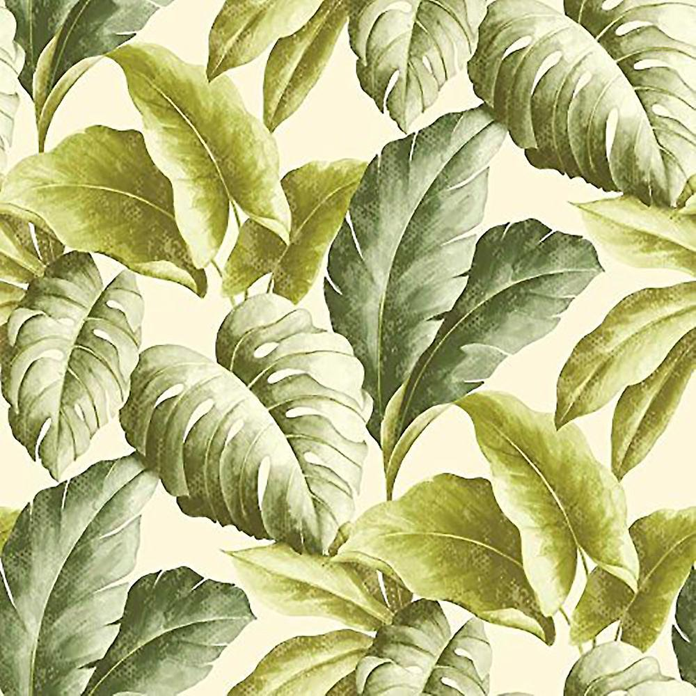 Vinyl Wallpaper Botanical Tropical Leaves Pattern Tree Textured Motif Green