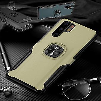 Für Huawei P30 Lite Magnet Metall Ring Hybrid Case Gold Tasche Hülle Cover Etuis Schutz