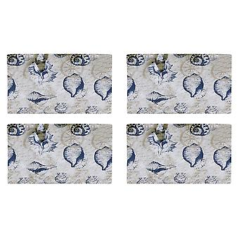Sanibel Navy Shells on Cream Kitchen Dining Table Placemats Set of 4